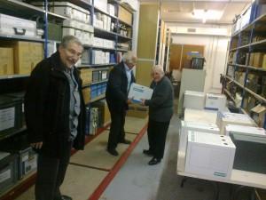 Marc Pelletier, roger Guigui et jean Bouniol livraison du premier lot d'archives du 18/12/2017